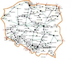 Struktura sieci szkieletowej EXATEL - wizualizacja